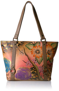 Anuschka Anna Handpainted Leather Classic Large Tote, Floral Safari Brown, Fsb-Floral Safari Brown