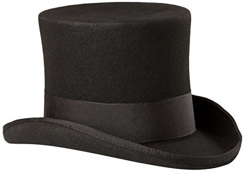 Scala Men's Wool Felt Top Hat, Black, Medium
