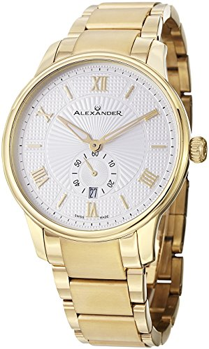Alexander Statesman Regalia Men's Silver Dial Yellow Gold Plated Swiss Made Watch A102B-03