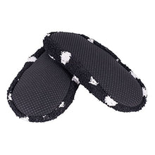 Super Soft Cozy Slippers with Slip-Resistant Bottom Sole (Medium (Womens 7.5-9), Black with White Dots)