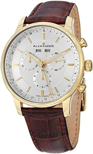 Alexander Statesman Chieftain Men's Multi-function Chronograph Brown Leather Strap Yellow Gold Plated Swiss Made Watch A101-03