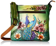 Anuschka Hand Painted Expandable Travel Crossbody Handbag