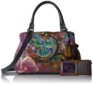 Anuschka Handpainted Triple Compartment Large Satchel