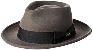 Scala Classico Men's Crushable Water Repelant Wool Felt Fedora Hat, Grey, X-Large