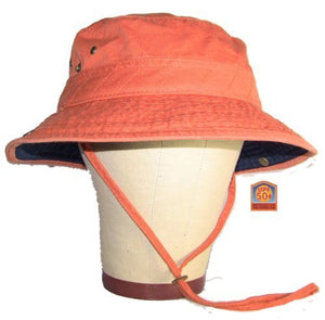 Men's UPF 50 Hat with Contrast Brim - Orange/Navy Medium