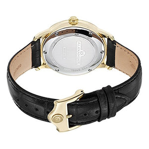 Alexander Statesman Regalia Men's Black Leather Strap Yellow Gold Plated Swiss Made Watch A102-03