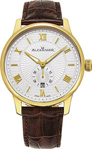 Alexander Statesman Regalia Wrist Watch For Men - Brown Leather Analog Swiss Watch - Stainless Steel Plated Yellow Gold Watch - Silver White Dial Date Small Seconds Mens Designer Watch A102-07
