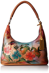 Anuschka Handpainted Leather Medium Top-Zip Hobo Handbag