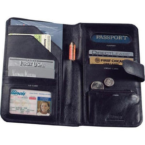Cowhide Nappa Leather Passport Travel Organizer Color: Black, Closure: Magnetic Snap