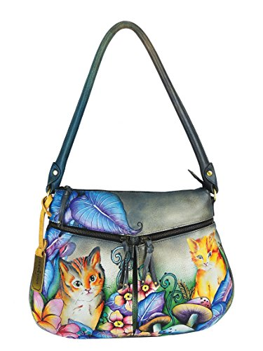 Anuschka Zip Top Expandable Pockets Handbag Hand Painted Genuine Leather