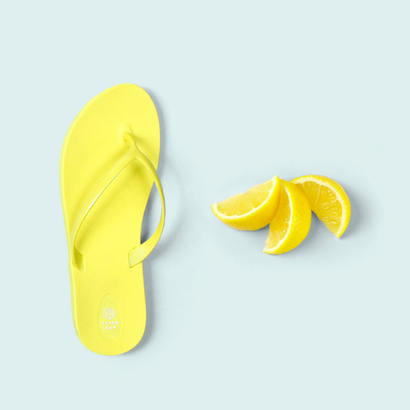 Lemon Women's Yellow Flip Flops by Third Oak