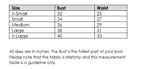 Size Guide Table Sunkissed Dresses