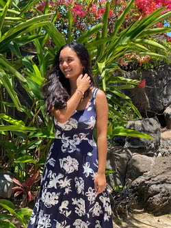women's clothing sundress summer dress navy floral hawaii