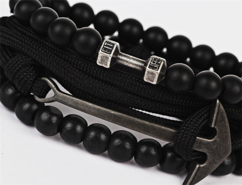 Combined Leather Anchor Bracelet - Anchor, Dumbbell