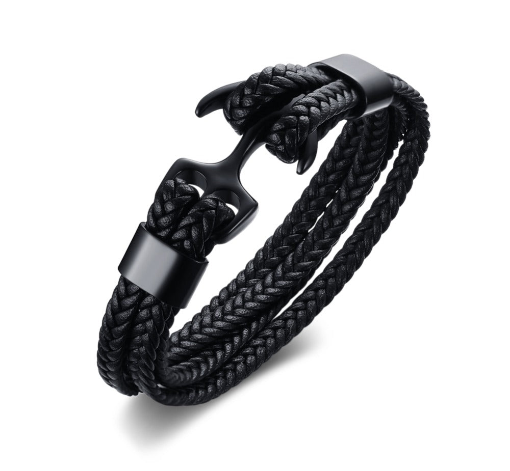 Captain's Black Weaved Rope Bracelet