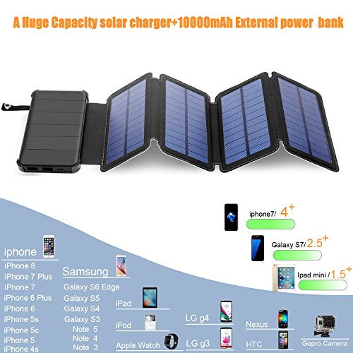 Solar Charger Power Bank 10000 mAh Solar Lights Outdoor Survival Gear Kit -Portable Powered Battery Deck 4 Foldable Emergency Solares Paneles Set|Dual USB SOS Led Flashlight Camp Lamp (Solar Charger)