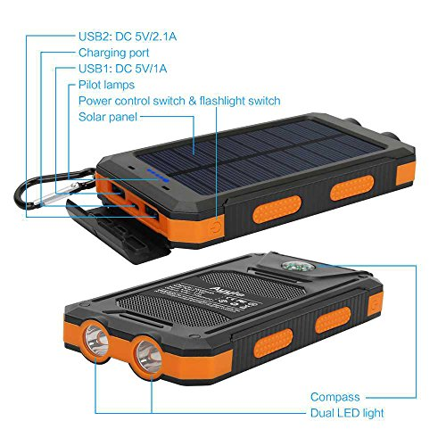 Solar Power Bank Portable External Backup Battery Pack Dual USB Solar Phone Charger
