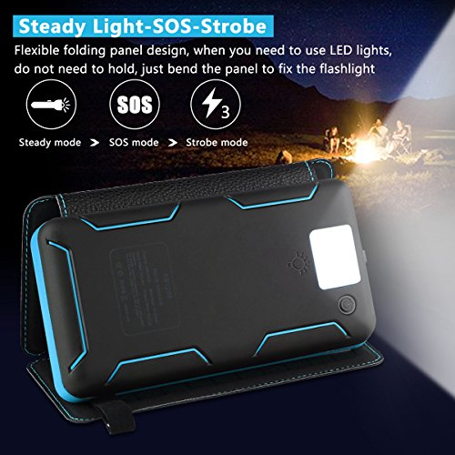 Solar Charger 24000mAh Waterproof Portable Charger Power Bank with 3 Solar Panels