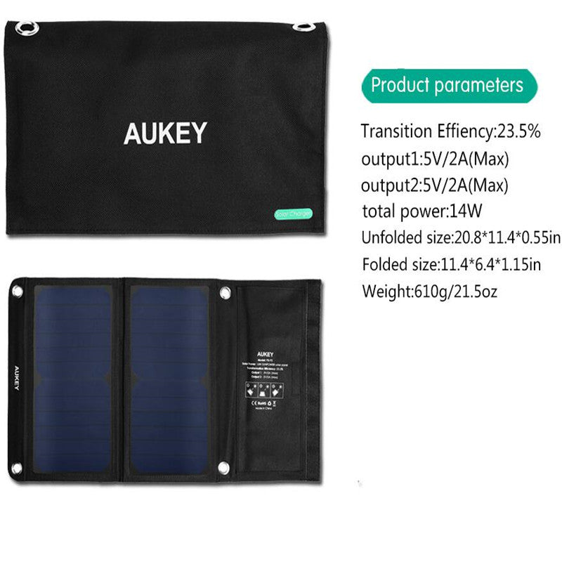 AUKEY 14W  Portable Foldable Solar Charger with 2 USB Ports and High Efficiency SunPower Solar Panels