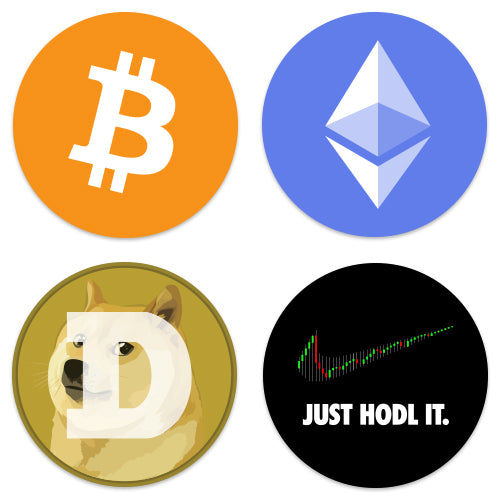 Crypto Coin Stickers 4-Pack