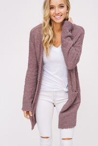 Jane Popcorn Knit Cardigan- Mauve - Sweatshirt - The Valley Boutique - Canada Online Shopping