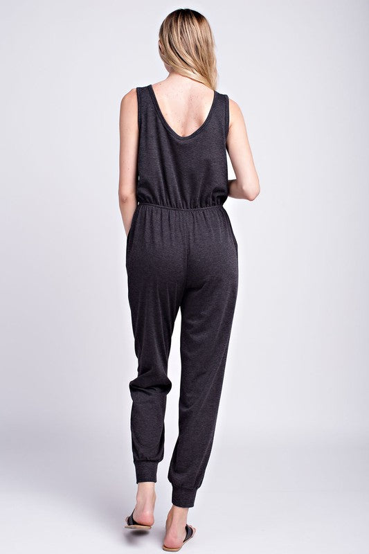 Josselyn Jersey Pocketed Jumpsuit- Charcoal - Bottoms - The Valley Boutique - Canada Online Shopping