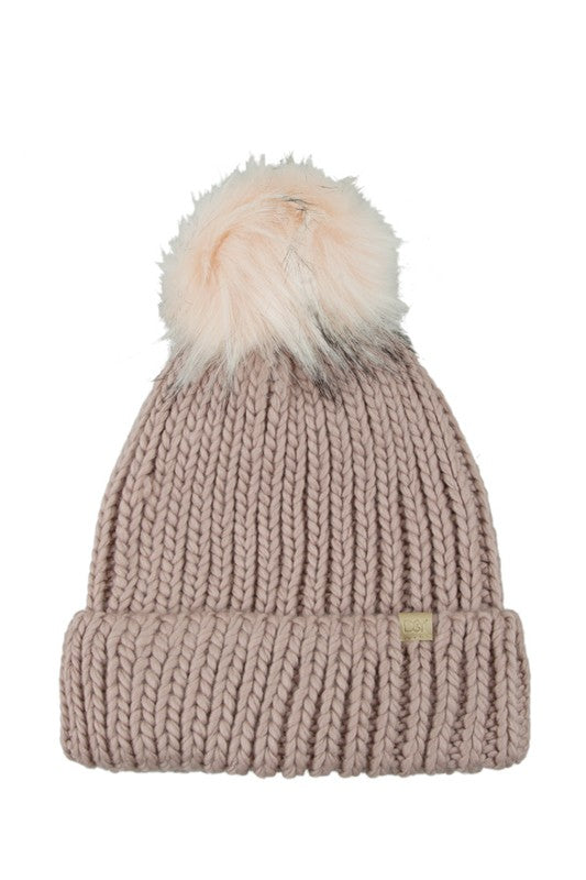 Aspen Knit Faux Fur Pom Toque - Accessories - The Valley Boutique - Canada Online Shopping