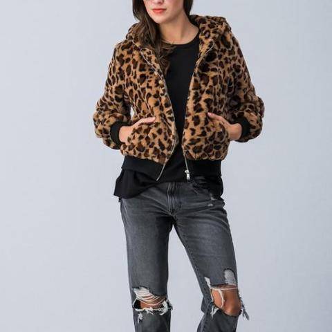 Briar Faux Fur Bomber Jacket- Leopard - Coat - The Valley Boutique - Canada Online Shopping