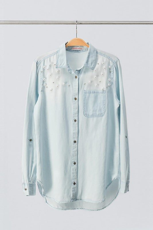 Mackie Denim Button-Down Top - Shirts - The Valley Boutique - Canada Online Shopping