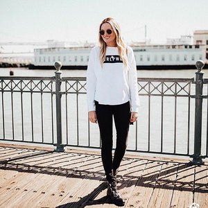 GRLPWR Crew Sweater- White - Sweatshirt - The Valley Boutique - Canada Online Shopping