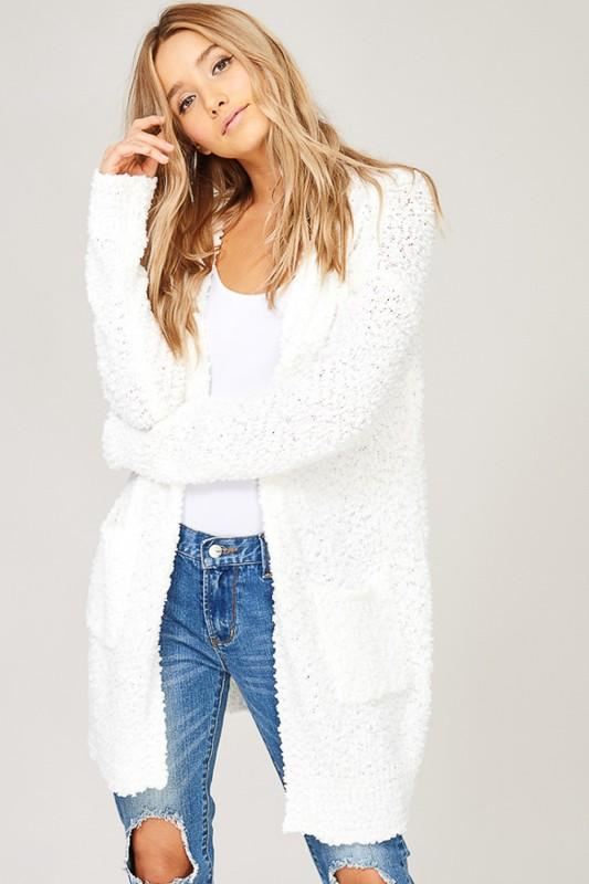 Jane Popcorn Knit Cardigan- Ivory - Sweatshirt - The Valley Boutique - Canada Online Shopping