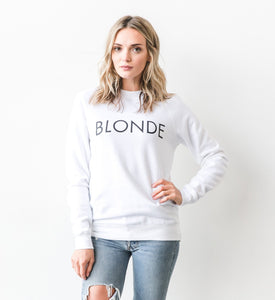 """BLONDE"" Crew Sweater- White - Shirts - The Valley Boutique - Canada Online Shopping"