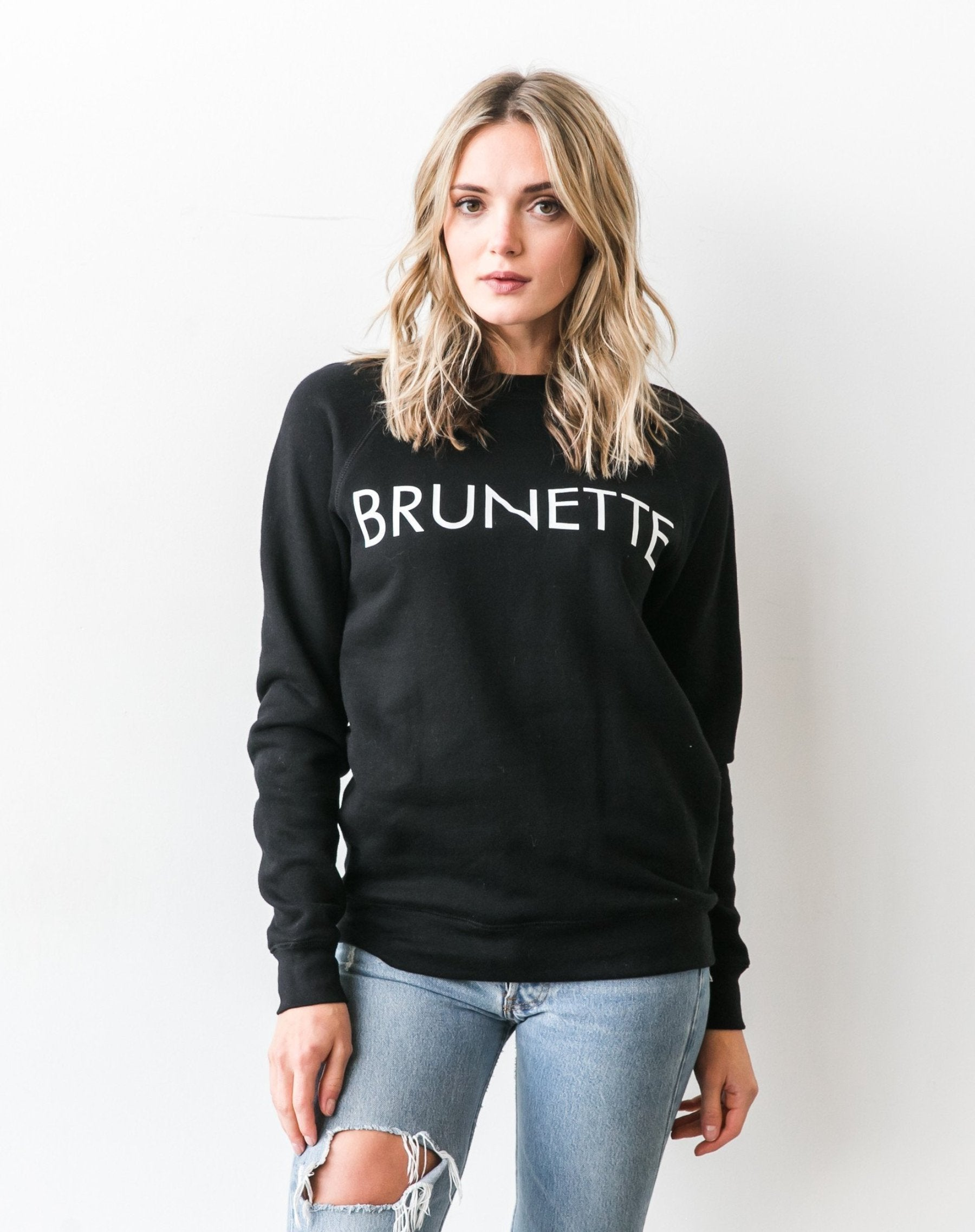"""BRUNETTE"" Crew Sweater- Black - Sweatshirt - The Valley Boutique - Canada Online Shopping"