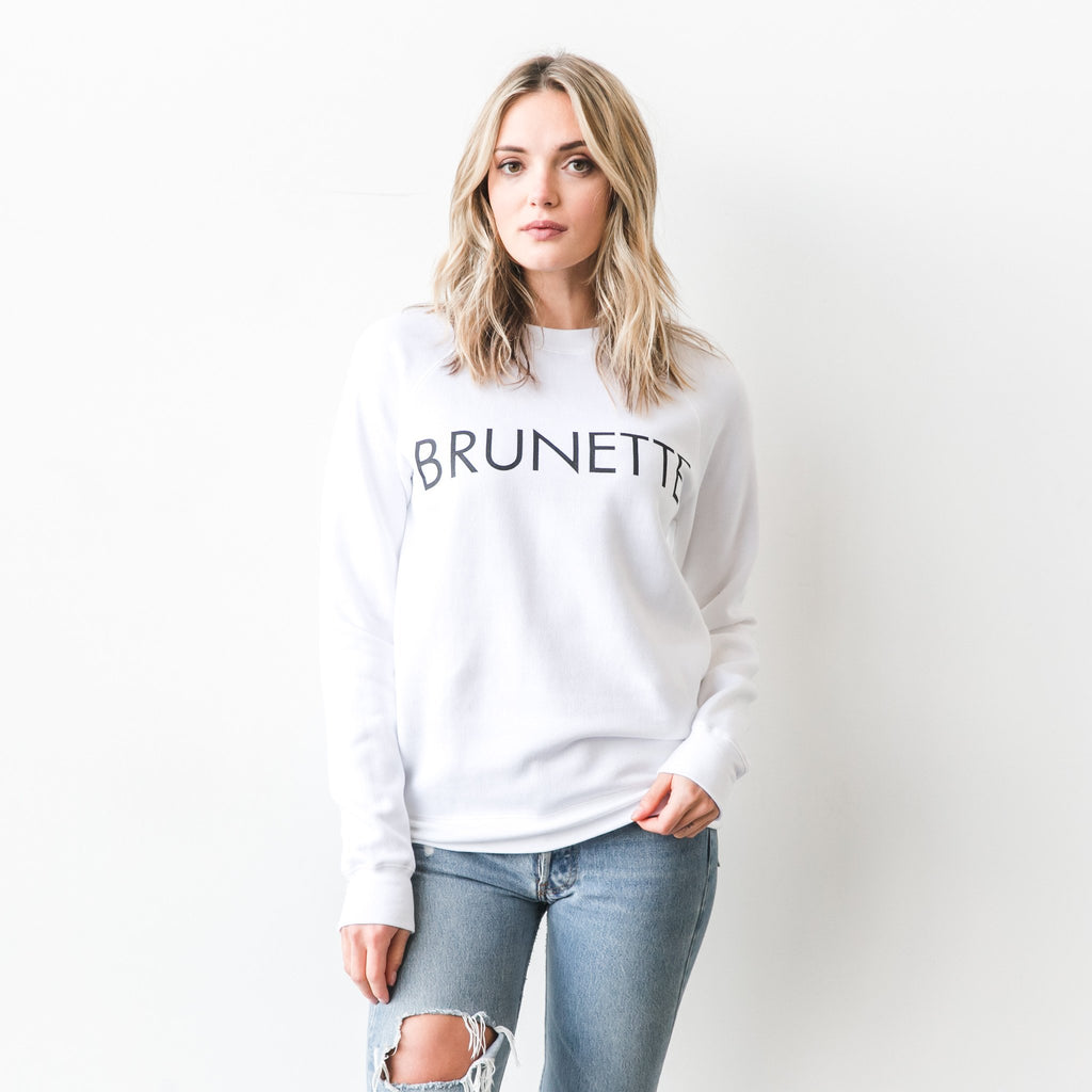 """BRUNETTE"" Crew Sweater- White - Shirts - The Valley Boutique - Canada Online Shopping"