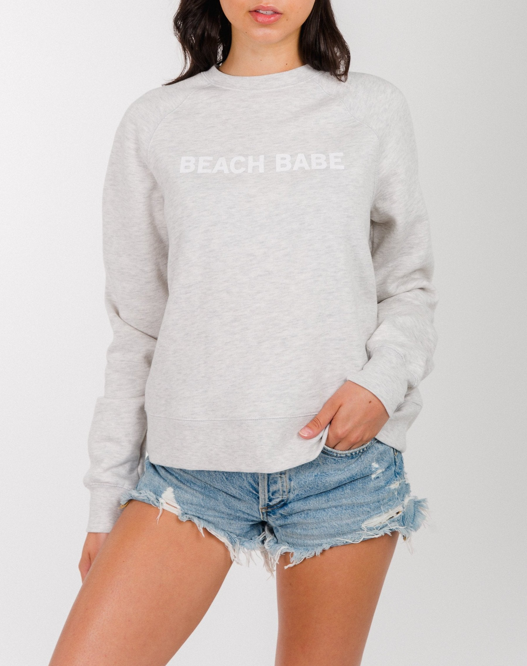 """Beach Babe"" Middle Sister Crew- Oatmeal - Shirts - The Valley Boutique - Canada Online Shopping"