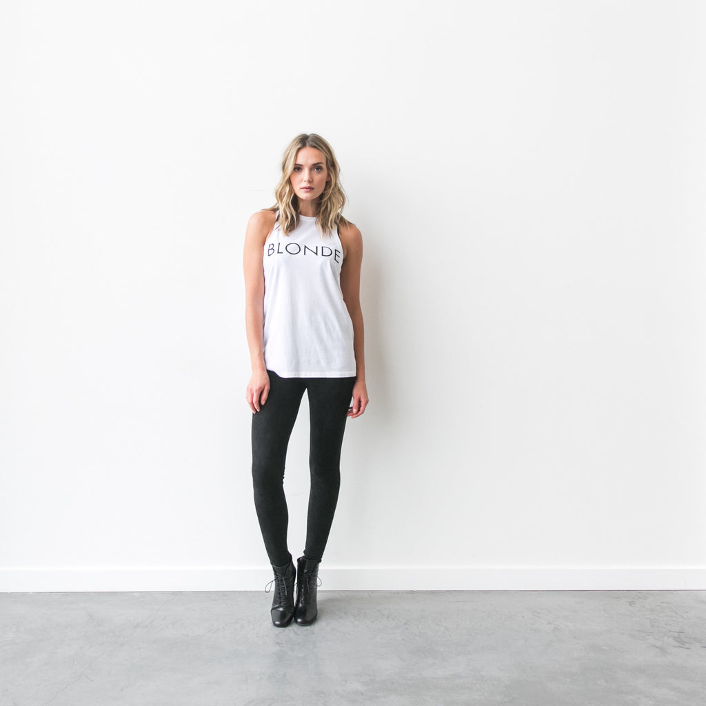 """BLONDE"" Crew Neck Tank - Shirts - The Valley Boutique - Canada Online Shopping"