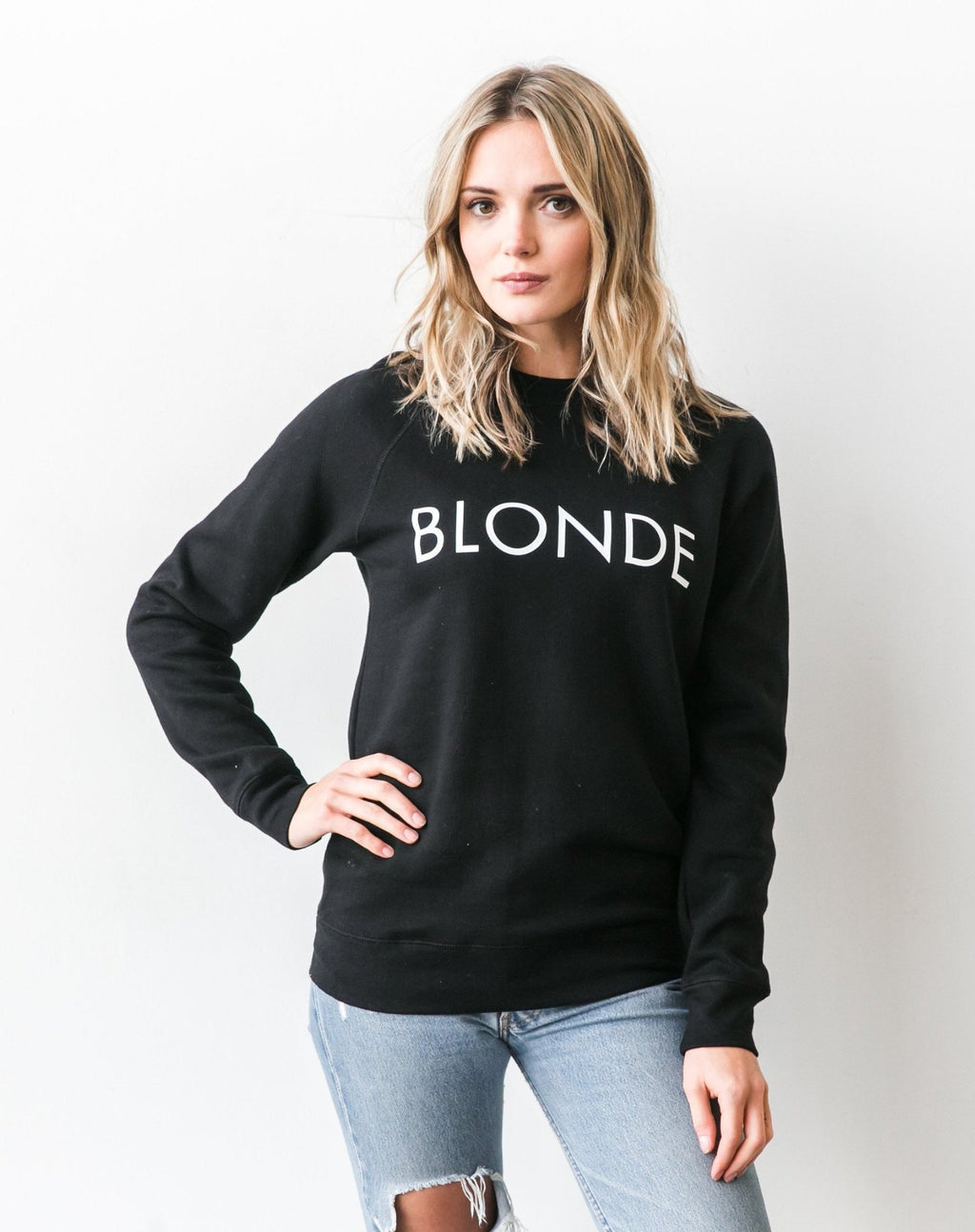 """BLONDE"" Crew Sweater- Black - Sweatshirt - The Valley Boutique - Canada Online Shopping"