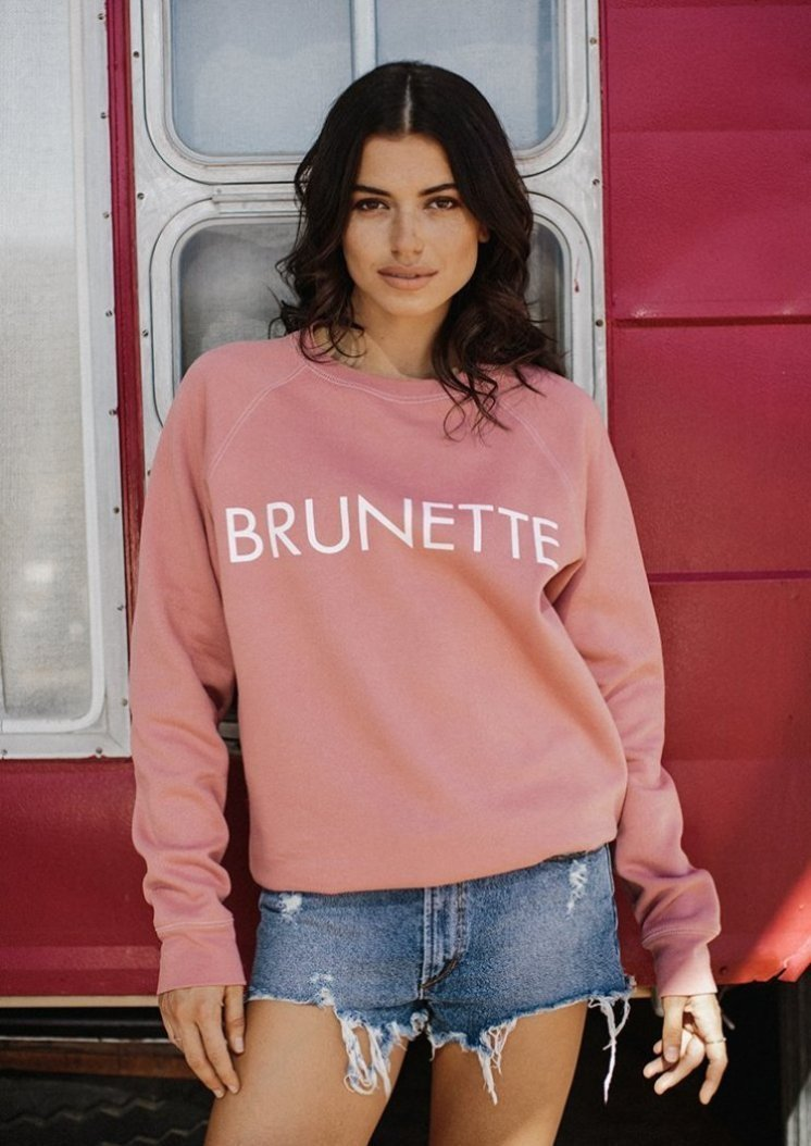 """BRUNETTE"" Crew Sweater- Dusty Rose - Shirts - The Valley Boutique - Canada Online Shopping"