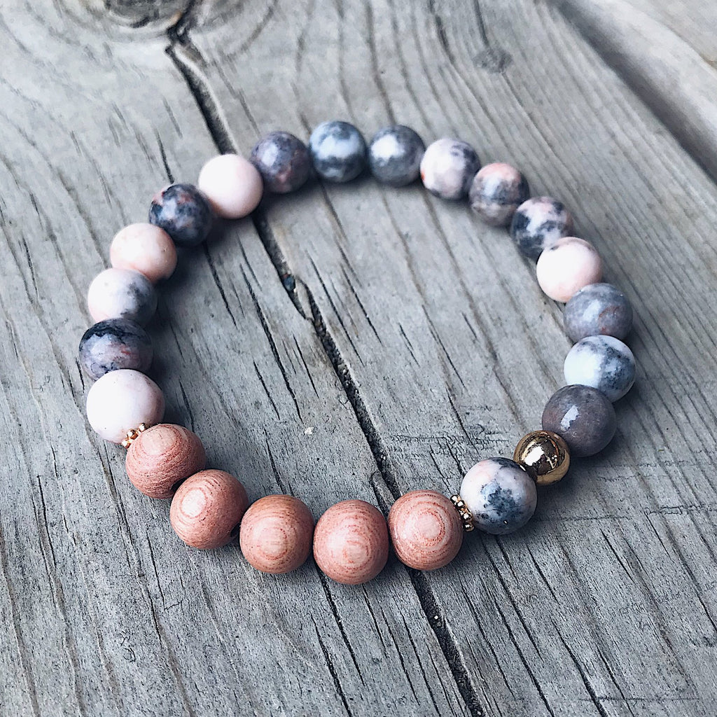 Pink Zebra Jasper + Rosewood Bracelet - Bracelet - The Valley Boutique - Canada Online Shopping