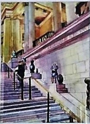 Museum Stairs watercolor painting