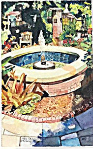 Fountain watercolor painting