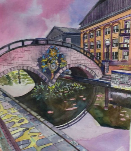 Carroll Street Bridge watercolor painting
