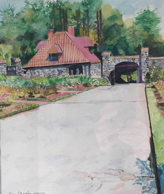 Gatehouse watercolor painting