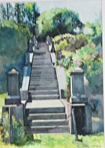 Waban Lake Staircase watercolor painting