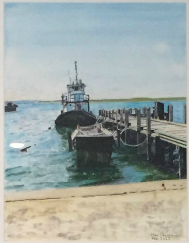 Dockside - Woods Hole Harbor watercolor painting