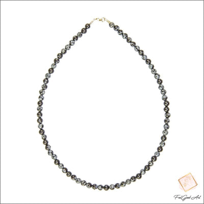 Collier Pierre naturelle Obsidienne neige