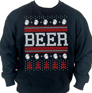 Beer Ugly Christmas Sweater Crew Neck Sweat Shirt