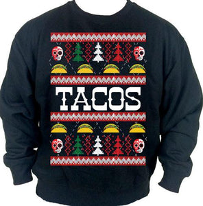Tacos Ugly Christmas Sweater Crew Neck Sweat Shirt