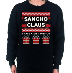 Sancho Claus Ugly Christmas Sweater Crew Neck Sweat Shirt