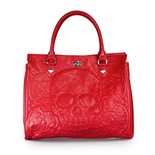 Red on Red Lattice Skull Tote